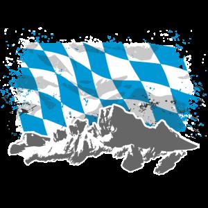 Bayern - Flagge & Berge