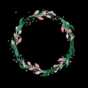 Personalisierbar Kranz Grün Rosa