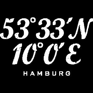 Hamburger Koordinaten (Vintage/Weiß) Hamburg