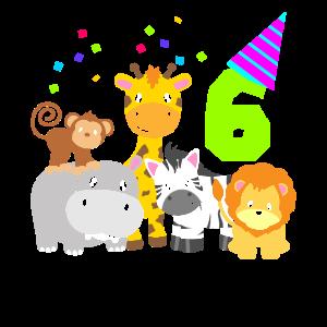 6.Geburtstag Kinder Zootiere 6 Bday Sechs
