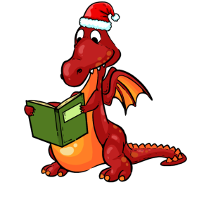 Drache Bücher Buch Lesen Bücherwurm Weihnachten