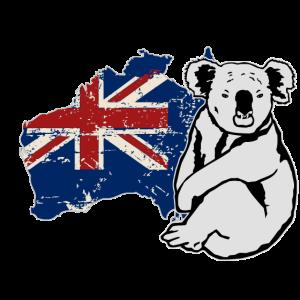 Koala - Australia Map Flag