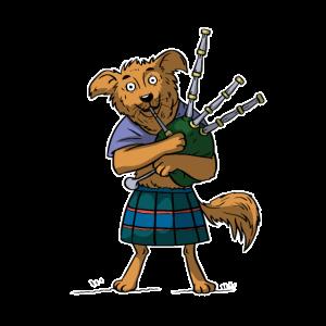Dudelsack Hund Schottland Sackpfeife Musiker