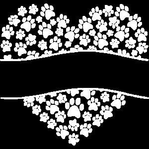 Hund und Pfote in Herz Heart Love Dog Herzform