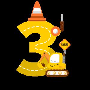 Bagger Geburtstagsgeschenk 3 Jahre Baustelle