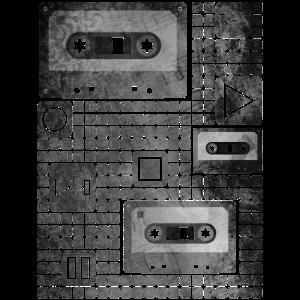 Kassetten-Muster (schwarz-weiß)