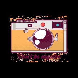 Retro Fotokamera mit Motivationsspruch