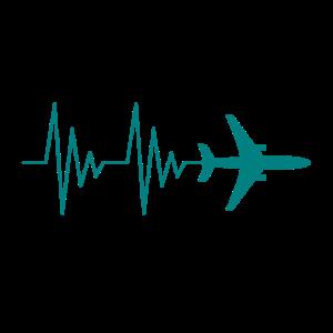 Flugzeug Pilot EKG Liebe Herzschlag Liebe