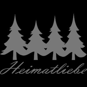 Heimatliebe - grauer Schriftzug mit 4 Tannen