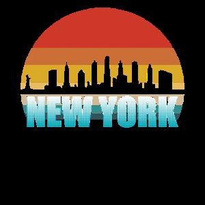 New York Skyline Silhouette Retro