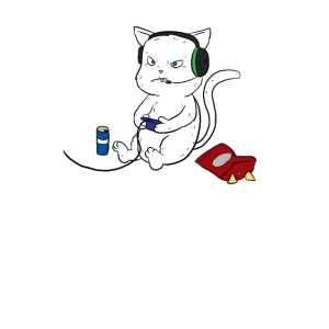 Zockende Katze Gaming Gamer LAN-Party