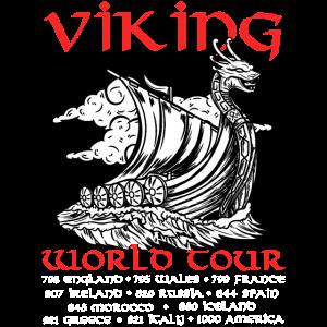 Wikinger World Tour T-Shirt Walhalla kampf Schiff