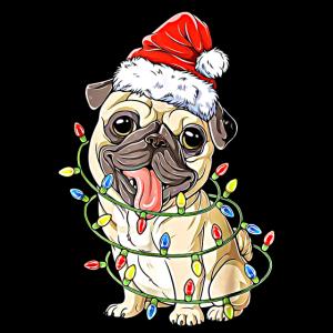 Hund Mops Weihnachten