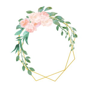 Personalisierbar Polygon Gold Blumen