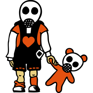 Junge mit Teddy und Gasmasken / Eddi Pooh (A 3c)