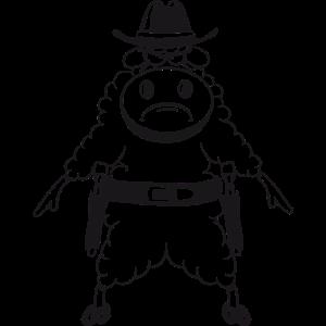 Schaf Weide fressen Herde wild west duell pistolen