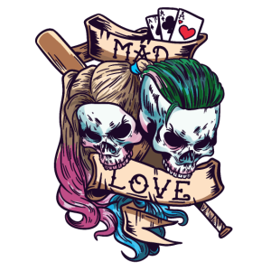 Totenkopf Totenschädel Clowns Mad Love