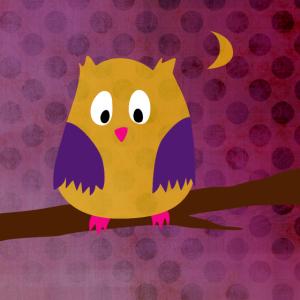 Poster Eule Kinderzimmer Punkte Dots Wald Herbst