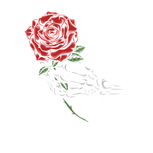 Rose in Knochenhand