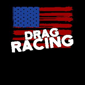 Drag Racing Patriotic American Flag Drag Racer