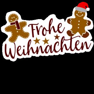 Frohe Weihnachten Christmas Lebkuchenmann Lustig