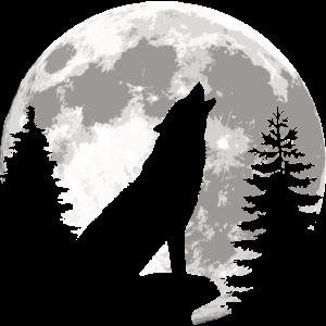 Heulender Wolf Silhouette vor dem Vollmond