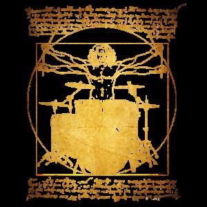 Vitruvian Man,Schlagzeuger,Drumsticks,vinci,Gold