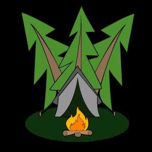 Zelt im Wald mit einem Lagerfeuer