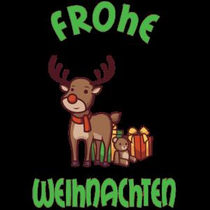 Frohe Weihnachten Elch Rentier mit Geschenken