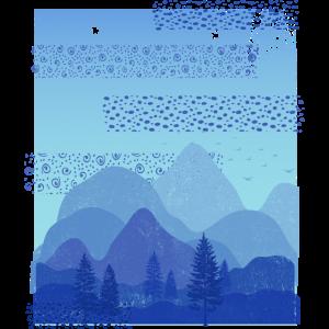 Abstrakte Landschaft (Blaue Berge)