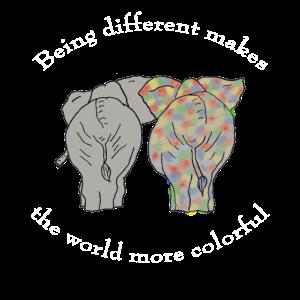 Bewusstsein für Autismus Farbenfroher Elefant