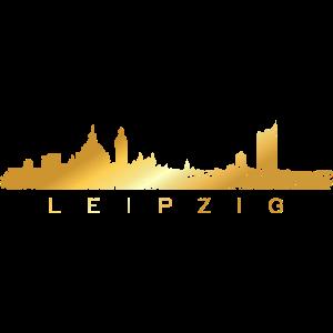 Leipziger Skyline (Vintage/Goldgelb) Leipzig
