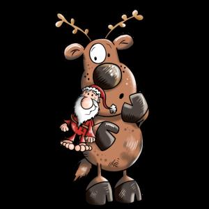 Rentier knuddelt Weihnachtsmann