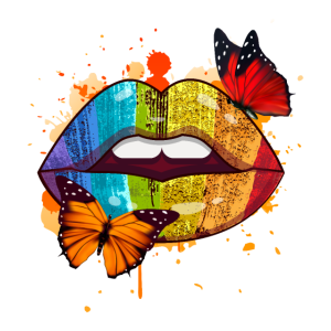 Regenbogen Lippen T-Shirt Geschenk Geschenkidee