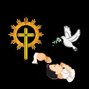 Baby Taufen mit Taube und Kreuz
