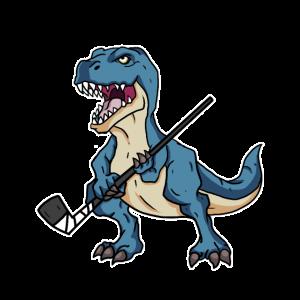 Lustiges Dinosaurier Dino Hockey Hockeyspieler