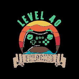 Level 40 Freigespielt 40. Geburtstag Vierzig Party