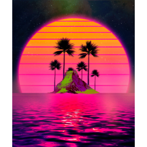 Synthwave Retro 80er Sunset Beach Island mit