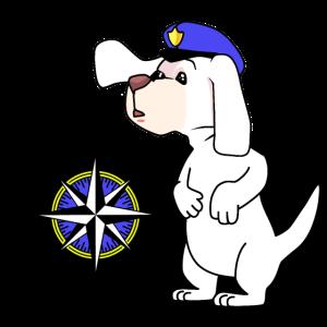 Hund Nautik Kompass Windrose Reise Tour