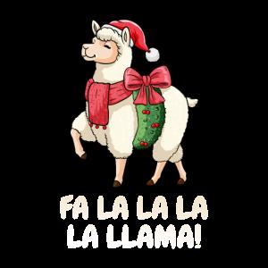 Fa la la la la Lama Weihnachtsmann Alpaka Nikolaus