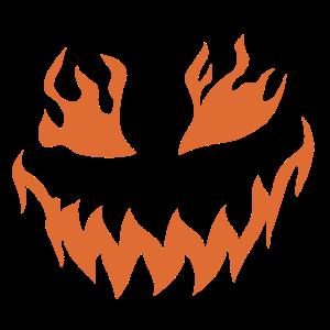 Halloween Comic Gesicht grusselig Flammen