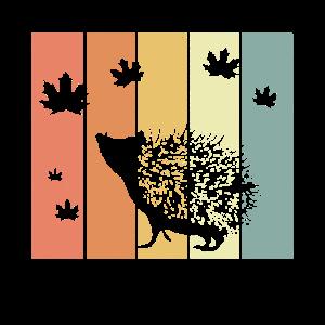 Igel Retro Herbstblätter