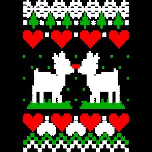 Rentiere Hirsche Ugly Christmas Strickmuster Liebe