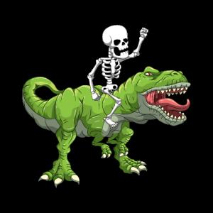 Skelett Reitet T-Rex Halloween Dino Kostüm
