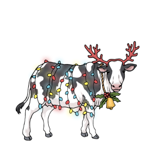 Weihnachtskuh Weihnachten Kuh Lichterkette Rentier