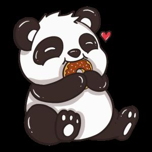 CUTE PANDA EATING A DONUT