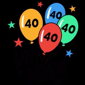 Happy Birthday Luftballons 40 Geburtstag HARIZ Ges