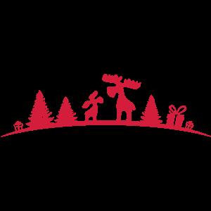 Weihnachten - Elche im Wald