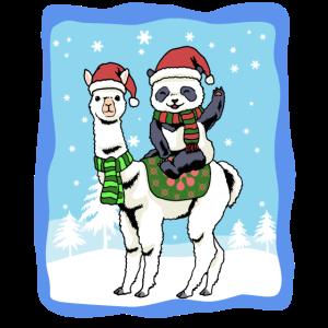 Alpaka Weihnachten Lama Panda Schnee Winter