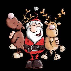 Weihnachtsmann umarmt Rentiere